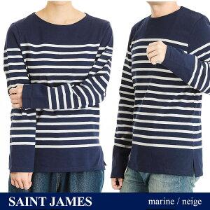 【在庫処分セール】セントジェームス SAINT JAMES NAVAL メンズ レディース トップス Tシャツ 長袖 ボーダー ナヴァル ナバル ダークブルーXホワイト XS 2691