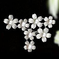 7.0mmアコヤ真珠桜の花モチーフブローチ【シルバー925】