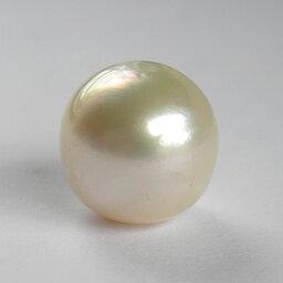 真珠 約13mm 片穴 クリーム色系 一個 1粒 手芸材料 素材 南洋 白蝶 パール 大粒 ルース 天然石【中古】【ネコポス配送】