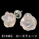 K14WGローズクォーツピアス【ホワイトゴールド・薔薇・フラワー・花・宝石・ジュエリー】【質屋出店】