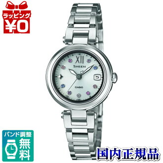 SHW-1504D-7AJF Casio SHEEN domestic regular product 5 bar waterproof radio solar (Japan and China two-station receive) Swarovski element adoption watch watch WATCH sales type Womens Christmas gifts fs3gm