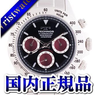 TECHNOS テクノス T4265SR chronograph domestic regular article clockface black wine red 10 standard atmosphere waterproofing men watch sale kind