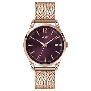 HL39-M-0078HENRYLONDONヘンリーロンドンアナログ紫パープル文字盤ローズゴールドケースメッシュバンドカレンダープレミアム学割対象ユニセックス男女兼用腕時計送料無料