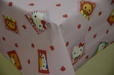 ハローキティ柄ビニール 120cm巾 テーブルクロス 10cm単位カット メール便は1.5m(個数15)まで対応可能
