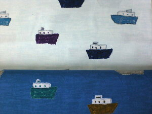nakaniwa by Yusuke Yonezu船柄コットンプリント【 生地 布 ふね 舟 シップ 】