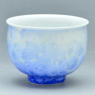 清水燒宋慧喬燒杯茶心理茶杯花水晶 (白色藍色) 是 kesshō (shiroji AO) § 清水燒宋慧喬陶器禮品時尚杯茶杯宇治茶