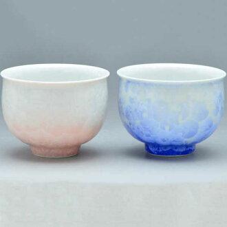 清水燒京都陶瓷杯雙茶心理茶杯花水晶 (白色藍色紅色) 從來沒有 (shiroji 藍色紅色) kesshō § 京都清水燒陶器禮品時尚杯茶杯宇治茶