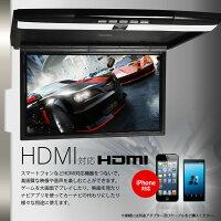 フリップダウンモニター15.6インチフルHD高画質液晶HDMI対応SDUSBスマートフォンiPhone充電1080pRCA超薄型設計