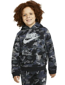 バスケットパーカー ジュニア キッズ ウェア 秋冬物 ナイキ Nike Nike YTH Club Pullover AOP Hoodie Blk/Gry/Nvy ストリート 【BOY'S】 キッズ アパレル