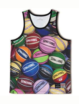 バスケットノースリーブ タンクトップ ウェア スポルディング Spalding Tank Top BALL PRINT Multi 【MEN'S】
