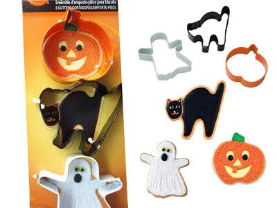 黒猫とおばけとかぼちゃの3種類のキュートなクッキー型!WILTON(ウィルトン)HLW 3PCカラー ク...