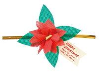 クリスマス ポインセチアワイヤータイ(5本セット) о製菓道具_お菓子作りアイテム_クリスマスプレゼントのラッピングに_サンタクロース_クリスマス_冬_サンタ_クリスマス