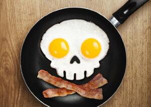 毎日の朝食やパーティなどの料理に!【キャラ弁 グッズ】スカル エッグモールド 【おもしろ 目...