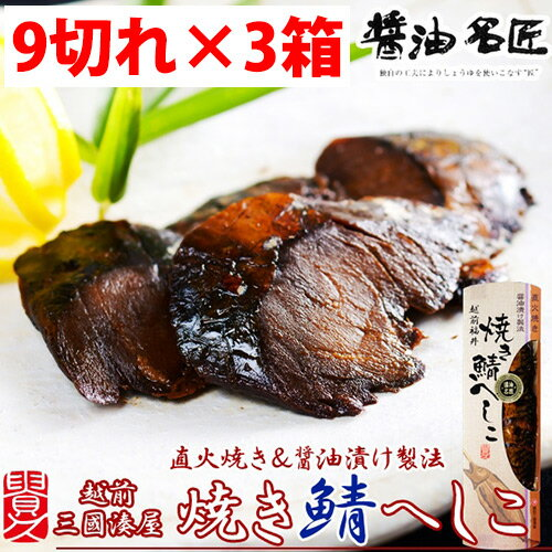 焼き鯖へしこ 9切れ×3本 送料無料 福井県 人気 郷土料理 寿司 手作り