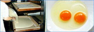 """こだわりは「昔ながらの手焼き」と「最高の素材」。長崎県""""雲仙普賢岳""""ふもとの専門農場から一日に限られた量しか入手できない卵黄濃度の高いカステラ専用の鶏卵や、最高級のザラメ糖など厳選した材料を使用しております"""