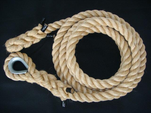 トレーニングロープ/マニラ麻ロープ/ターザンロープ/登り綱/マニラ麻製ターザンロープ(登り綱) 30mm×7M コース入 ターザンロープ/登り綱トレーニング用ロープに最適♪アスレチックロープとしても大活躍♪