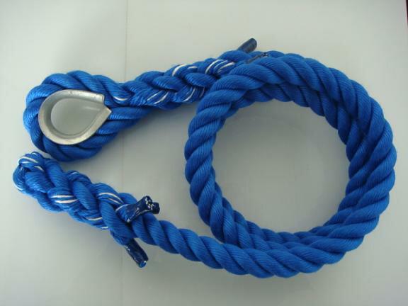 トレーニングロープ/カラーロープ/ターザンロープ/登り綱/送料無料/リプロン製ターザンロープ(登り綱) 青 24mm×7M コース入り ターザンロープ/登り綱トレーニング用ロープに最適♪アスレチックロープとしても大活躍♪