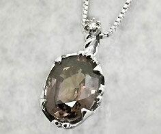 """【1点限り】""""神秘のサファイア"""" K18WG カラーチェンジサファイア 3.83ct ダイヤモンド ペンダン..."""