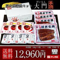 国産うなぎ大門(だいもん)手焼き炭火蒲焼100g×4尾ギフトセット送料無料