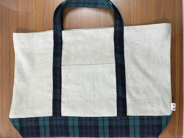 キッズ・リネン・ブラックウォッチ・レッスンバッグ(日本製)(ハンドメイド)