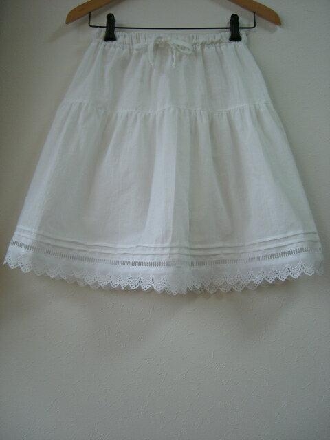 【大きいサイズ2L〜3L】綿麻ダンガリー・ペチコート スカート(3色)