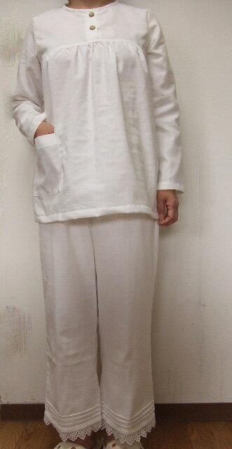 s【小さいサイズS】ダブルガーゼ長袖パジャマ(2色)パンツ丈選択可(日本製)