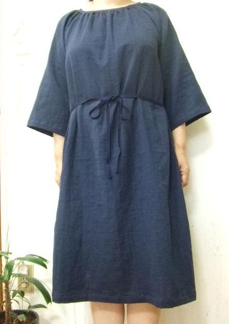 s【大きいサイズ4L〜5L】ダブルガーゼ7分袖・ラグラン・ワンピース(6色)