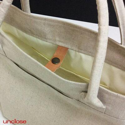 【手作りキット】ハーフリネンキャンバスで作るプレミアムトートバッグ(本革スナップ付き)