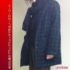 キット/ウール暖かブラックウォッチで作るノーカラーコート
