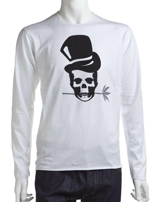 ルシアンペラフィネ lucien pellat-finet ペラフィネ Tシャツ 長袖 丸首 メンズ EVH1302 ホワイト×ブラック楽ギフ_包装 LPF値下:アンダーウェア