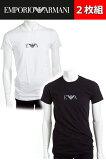 2枚組 アルマーニ エンポリオアルマーニ Emporio Armani Tシャツアンダーウェア Tシャツ 半袖 丸首 メンズ 111267 CC715 2P ブラック ホワイト 限定送料無料 楽ギフ_包装