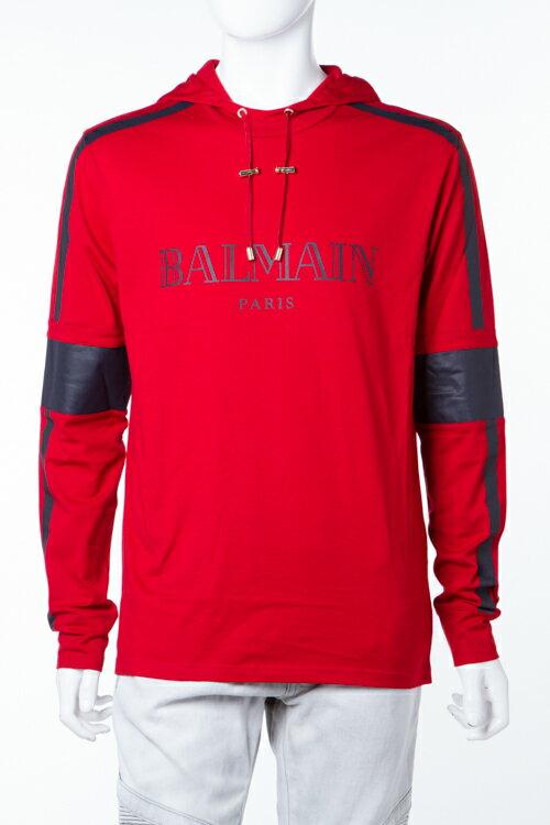 2016年秋冬新作 バルマン BALMAIN トレーナー 長袖 プルオーバーパーカー スウェット メンズ W6HJ822B242 レッド楽ギフ_包装 SALE16AW2:アンダーウェア