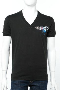 ディースクエアード DSQUARED2 Tシャツ 半袖 Vネック メンズ S74GD0165S22427 ブラック 送料無料 楽ギフ_包装
