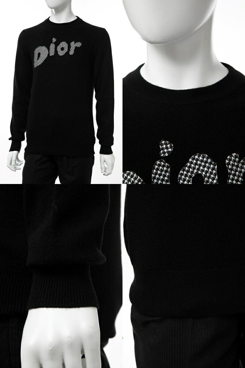 クリスチャンディオール Christian Dior セーター プルオーバーニット 長袖 丸首 クルーネック メンズ 933M614AT983 ブラック  楽ギフ_包装 2019年秋冬新作 【ラッキーシール対応】