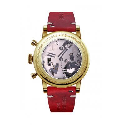 UNDONE URBAN NAVI メカクォーツ 腕時計 【ゴールド PVD コーティング カーフベルト レッド】