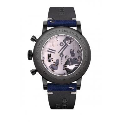 UNDONE URBAN Auta メカクォーツ 腕時計 【ブラック PVD コーティング コーデュラベルト ネイビー】