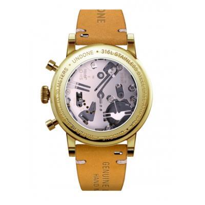 UNDONE URBAN CLASSIC Brown sunray 腕時計 メカクォーツ 【ゴールドケース カーフレザーベルト イエロー】