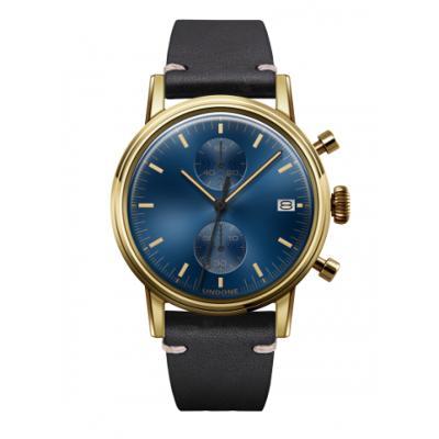 UNDONE URBAN CLASSIC Blue sunray 腕時計 メカクォーツ 【ゴールドケース カーフレザーベルト ブラック】