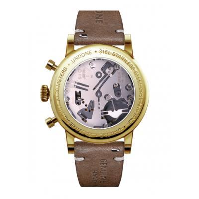UNDONE URBAN CLASSIC Grey sunray 腕時計 メカクォーツ 【ゴールドケース カーフレザーベルト ブラウン】