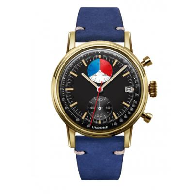 UNDONE URBAN Skipper メカクォーツ 腕時計 【 ゴールド PVDコーティング カーフレザー ブルー】