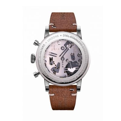 UNDONE URBAN SPEEDY Panda Silver メカクォーツ 腕時計 【 ステンレス カーフレザー ラフブラウン】