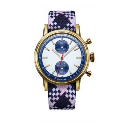 UNDONE URBAN SPEEDY Panda Blue メカクォーツ 腕時計 【 ゴールド PVDコーティング パーロンベルト ピンクネイビーホワイト】