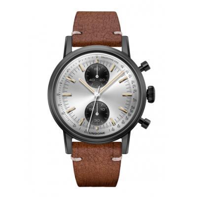 UNDONE URBAN SPEEDY Panda シルバー メカクォーツ 腕時計 【 ブラック PVDコーティング カーフベルト ラフブラウン】