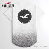 ホリスターメンズプリントロゴグラフィックカーブヘム半袖TシャツHollisterPrintLogoGraphicTeeホワイトとヘザーブラックのグラデーション