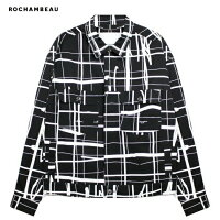 ROCHAMBEAU(ロシャンボー)SHORTJACKET(GRID)[デニムジャケット/オーバーサイズ/UNISEX][ブラック]