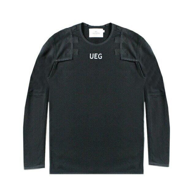 UEG (ウーサーエジェッタ / ユーイージー) ARMOUR SWEATSHIRT (BLACK) [スウェットシャツ トレーナー クルーネック トップス ブランド パネル オーバーサイズ ビッグシルエット ストリート モード メンズ レディース ユニセックス UNISEX] [ブラック]