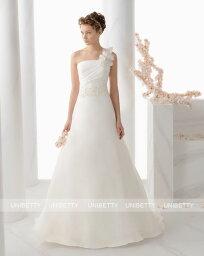 ウェディングドレス サイズオーダー 送料無料 Aライン ワンショルダー 結婚式 二次会 披露宴 ws2697