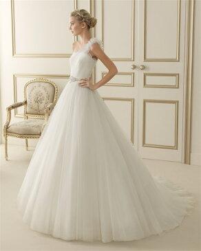 ウェディングドレス サイズオーダー 送料無料 プリンセスライン ワンショルダー 結婚式 二次会 披露宴 ws2621