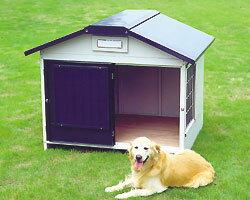 【犬小屋 大型犬用】スチール切妻犬舎 SLH-15【犬小屋 大型犬用 アイリスオーヤマ ペット 屋外ハウス ハウス サークル】:ゆにでのこづち
