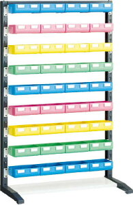 【TRUSCO】TRUSCOUPRラック片面H1450ビン大青X12赤・黄・薄緑各8個付UPRL1409B[TRUSCOラック物流保管用品工場用保管設備パネルラック]【TN】【TC】